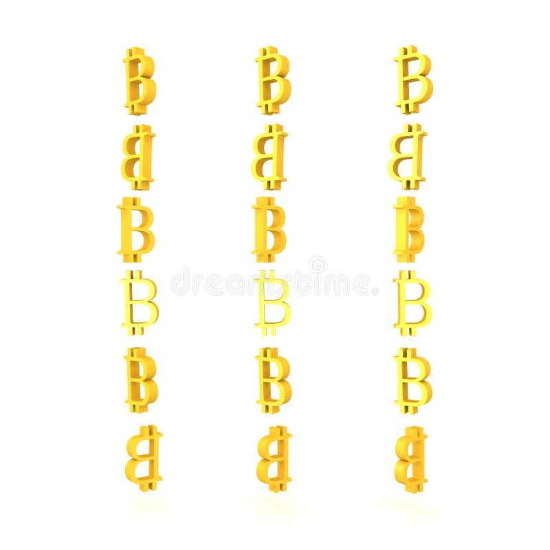 3D bitcoin的三个专栏的例证签字 库存例证