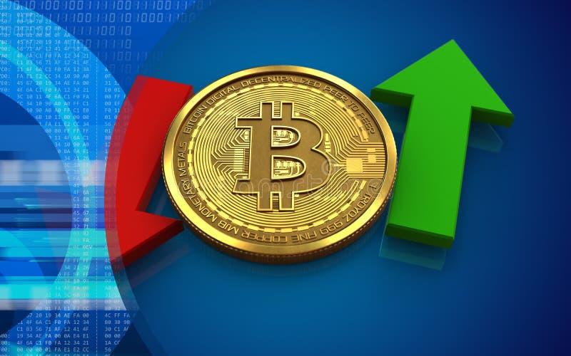 3d bitcoin boven en beneden pijlen vector illustratie