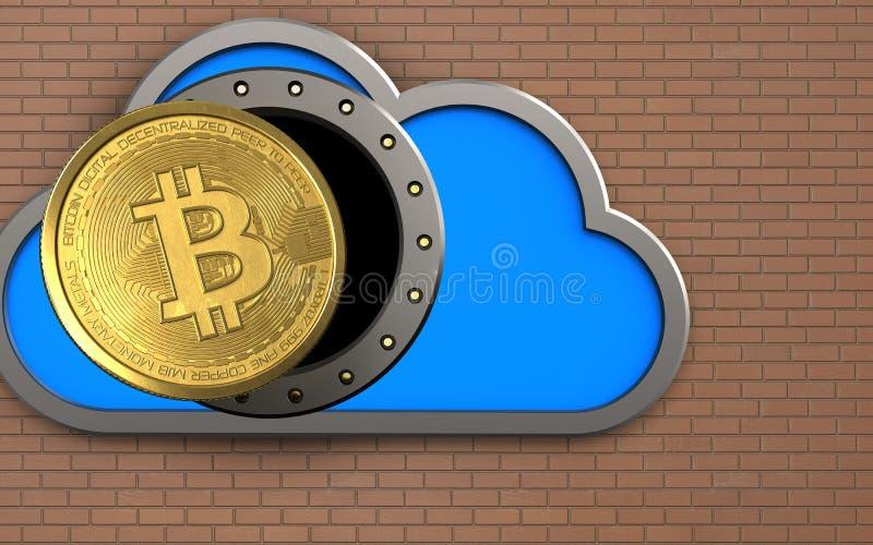 3d bitcoin nad cegły ścianą royalty ilustracja