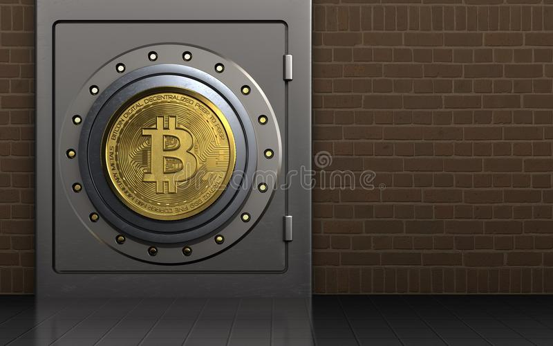 3d bitcoin safe safe stock illustration