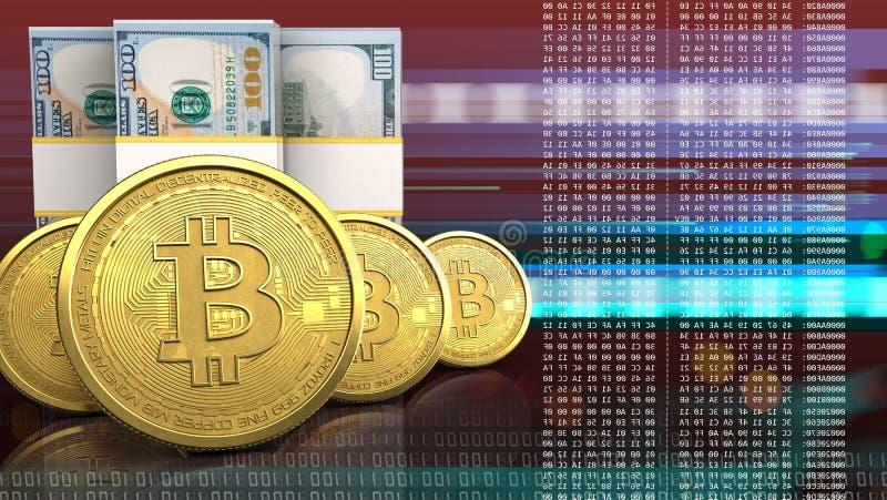 3d bitcoins row vector illustration