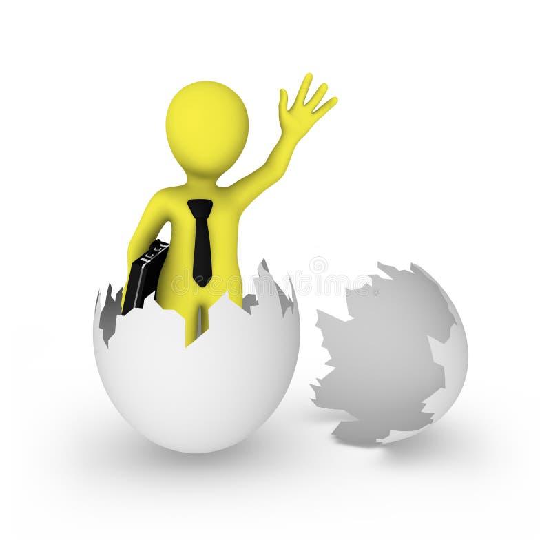 3d biznesmen był urodzony od jajka royalty ilustracja