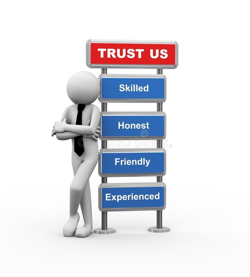 3d biznesmen i pojęcie biznesowy zaufanie ilustracja wektor