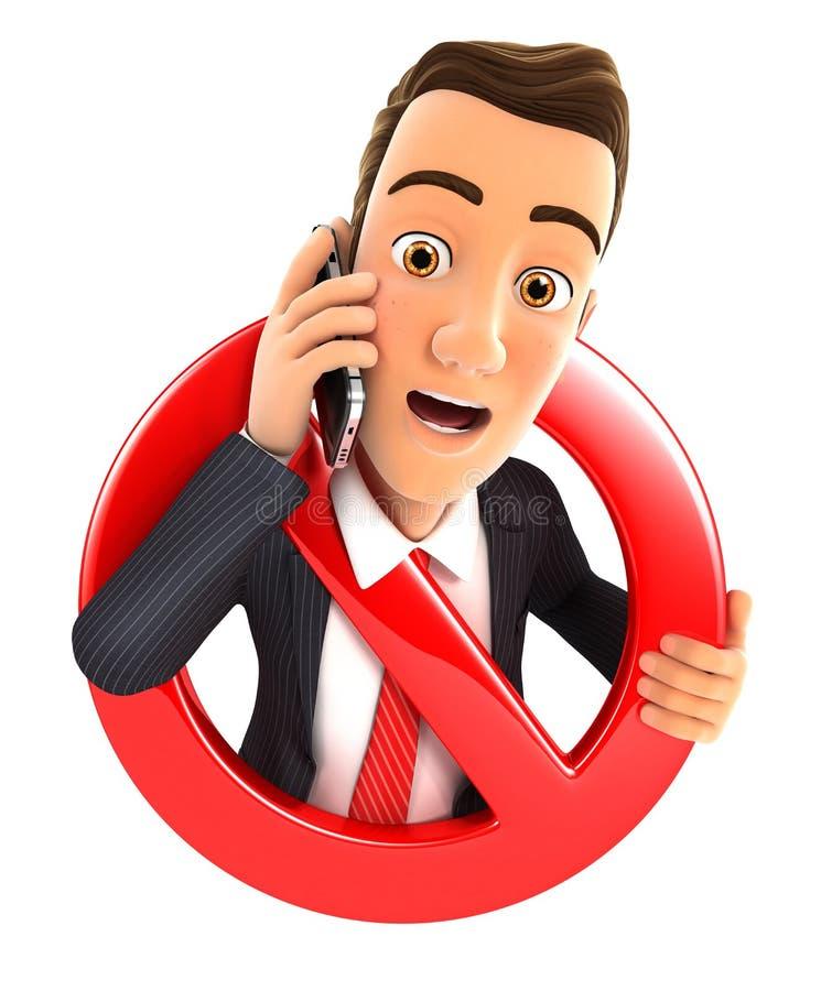 3d biznesmen na telefonie otaczającym niedozwolonym znakiem royalty ilustracja