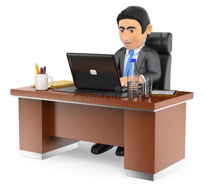 3D biznesmen pracuje w biurze z jego laptopem royalty ilustracja