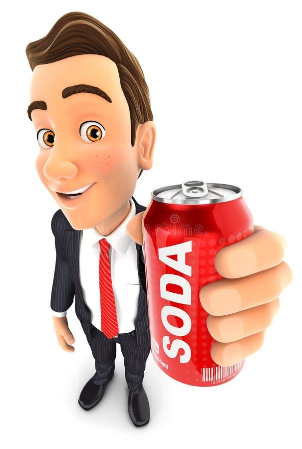 3d biznesmen trzyma sodowaną puszkę ilustracja wektor