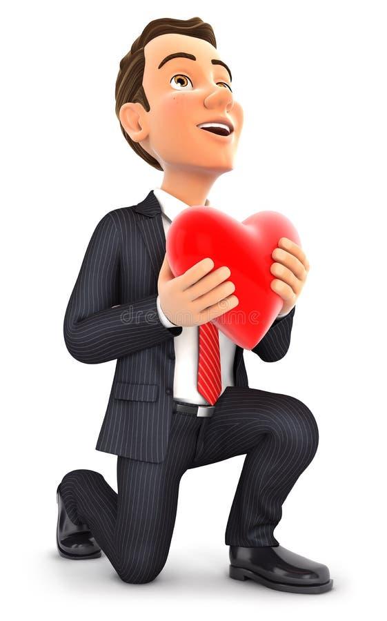 3d biznesmen w miłości z jeden kolanem podłoga ilustracji