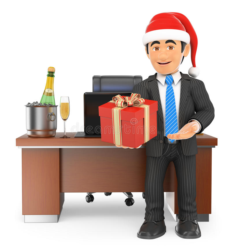 3D biznesmen wręcza biznesowego prezent ilustracji