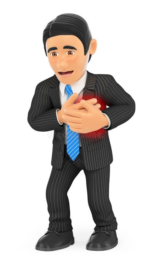 3D biznesmen z atakiem serca ilustracji