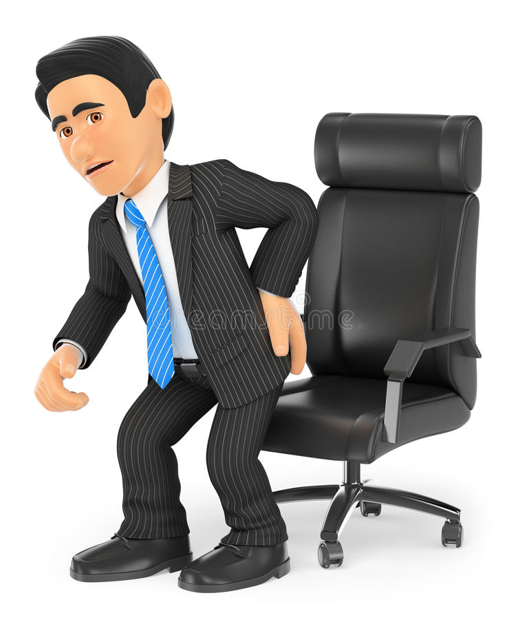 3D biznesmen z bólem pleców royalty ilustracja
