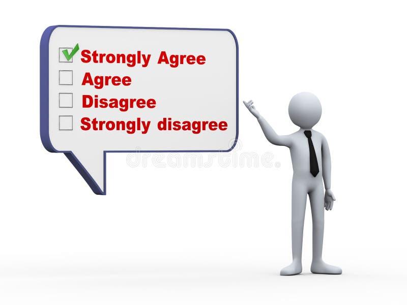 3d biznesmen z bąbel mowy ankiety oceną ilustracja wektor