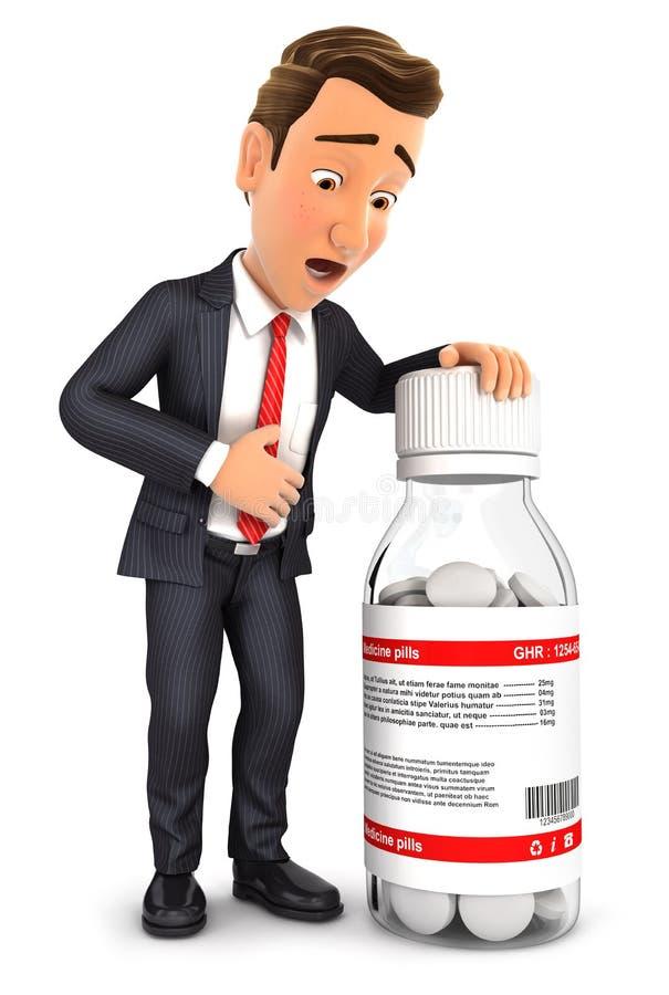 3d biznesmena żołądka obolałość ilustracji