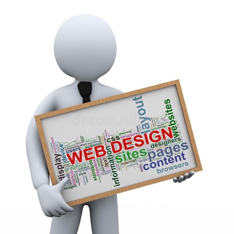3d biznesmena i sieć projekta etykietki ilustracja wektor