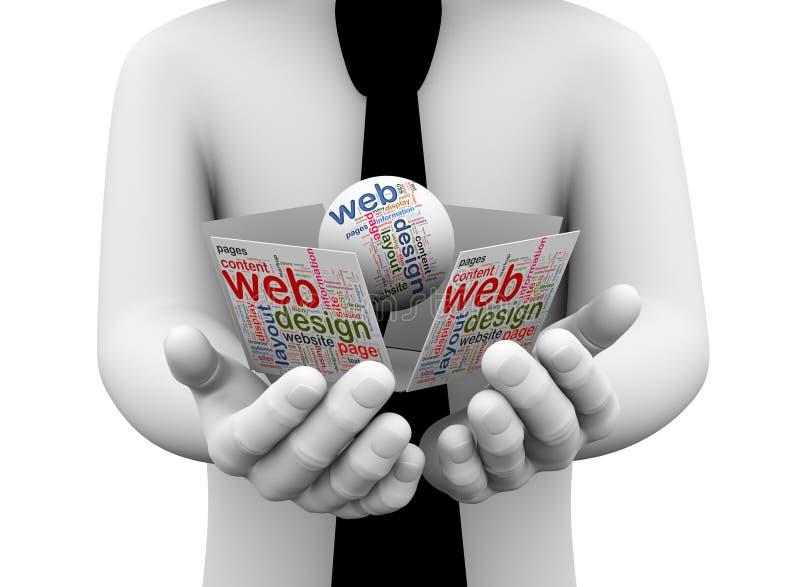3d biznesmena mienia sieci projekta wordcloud ilustracji
