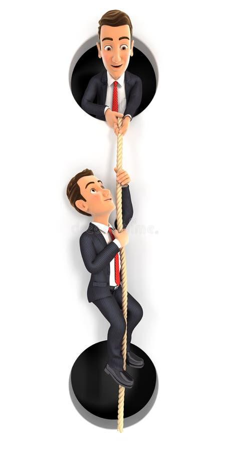 3d biznesmena pomaga kolega wspinać się na arkanie royalty ilustracja