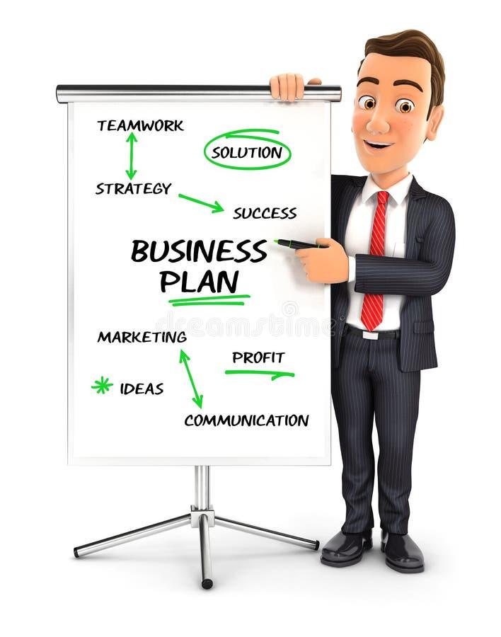 3d biznesmena writing plan biznesowy na paperboard ilustracji