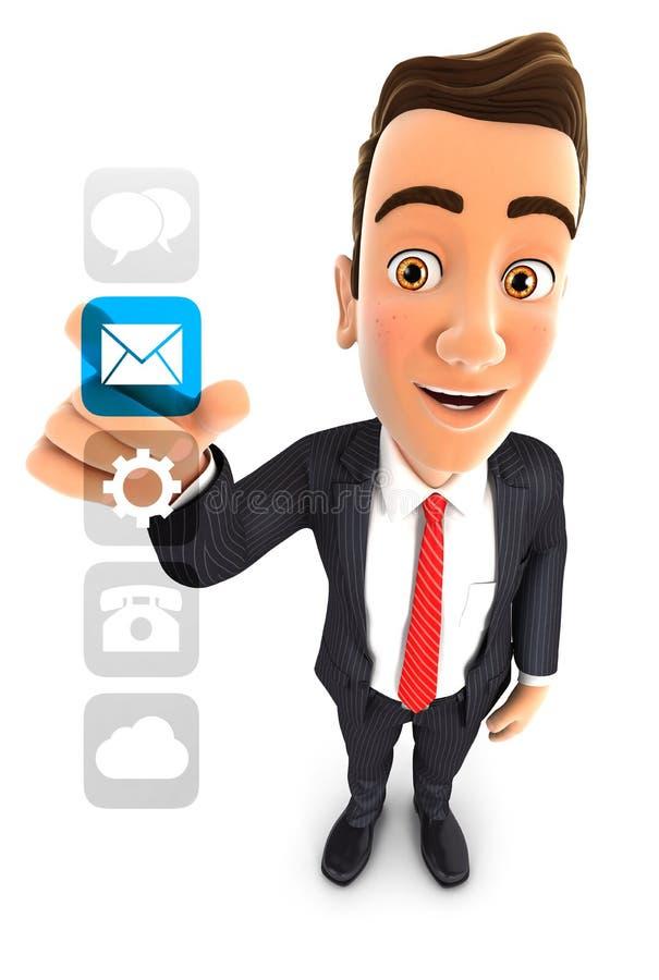 3d biznesmena zastosowań interfejs royalty ilustracja