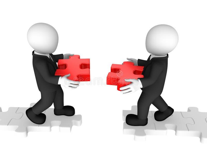 3d biznesmeni budują most z puzzli ilustracja wektor