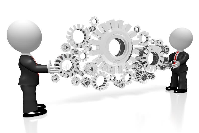 3D biznesmeni - cooperation/partnerstwa pojęcie ilustracja wektor