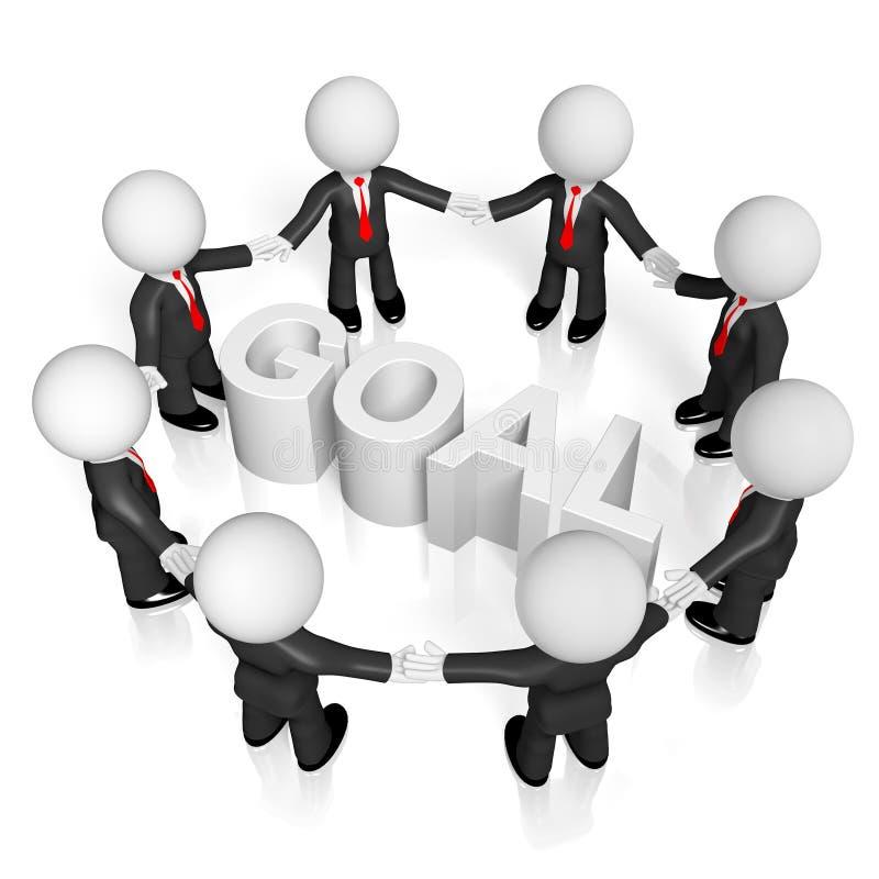 3D biznesmeni, teamwork/celu pojęcie ilustracji