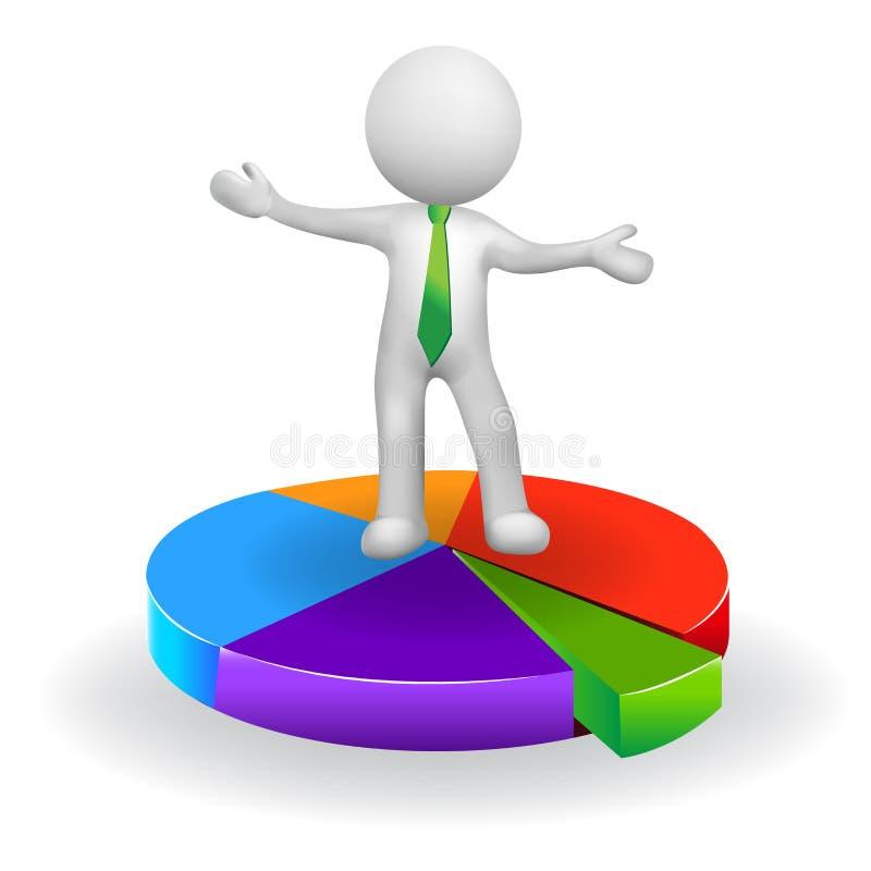 3D biznesowego mężczyzna z statystycznym wykres ikony logem biali ludzie royalty ilustracja