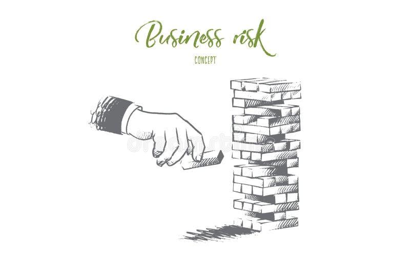 3d biznesowego pojęcia ilustracyjny ryzyko Ręka rysujący odosobniony wektor ilustracji