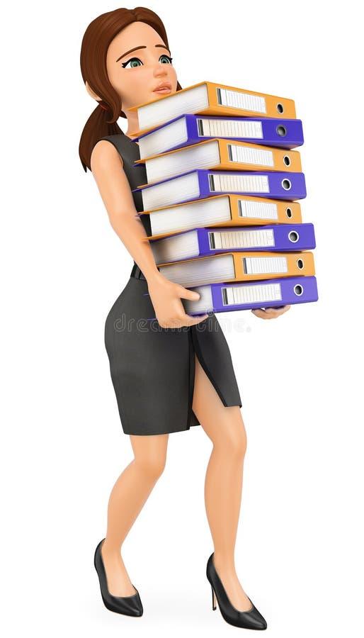 3D Biznesowej kobiety ładowanie z wiele ringowymi segregatorami Pracy przeciążenie ilustracji