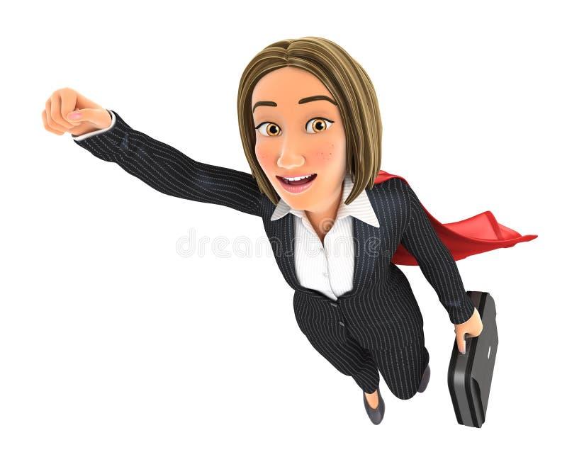 3d biznesowej kobiety latanie z teczką royalty ilustracja