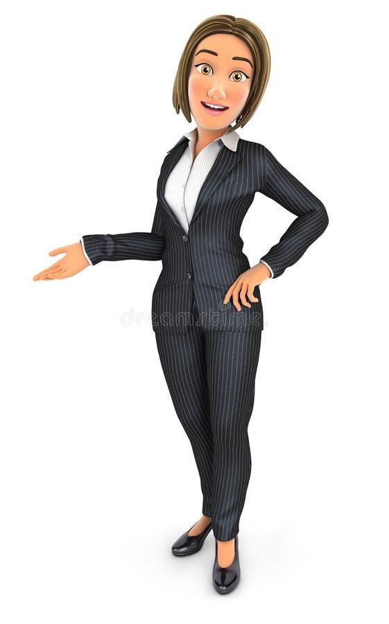 3d biznesowej kobiety pozycja i przyglądająca kamera royalty ilustracja