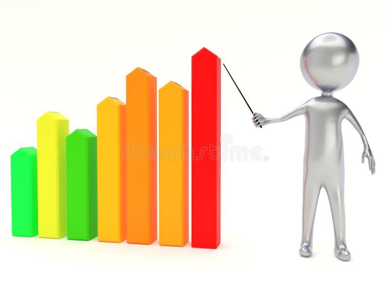 3d biznesowej statystyki wykresu ludzie royalty ilustracja