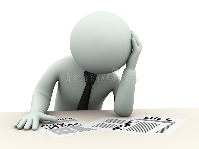 3d biznesowy mężczyzna martwiący się o rachunkach royalty ilustracja