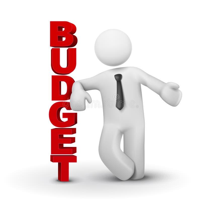 3d biznesowy mężczyzna przedstawia pojęcie budżet royalty ilustracja