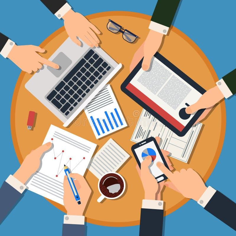 3d biznesowy pojęcie odizolowywający spotkanie odpłaca się biel Odgórny widok biurko z rękami, gadżety royalty ilustracja