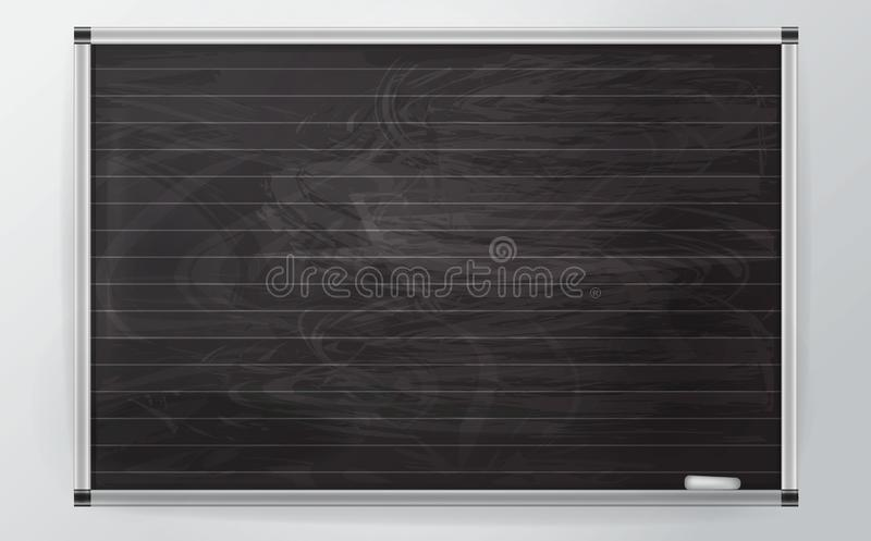 3d black businessl Board with chalk and the lines in the style of realism. business  Board with aluminum profile isolated on a. Black business  Board with chalk royalty free illustration