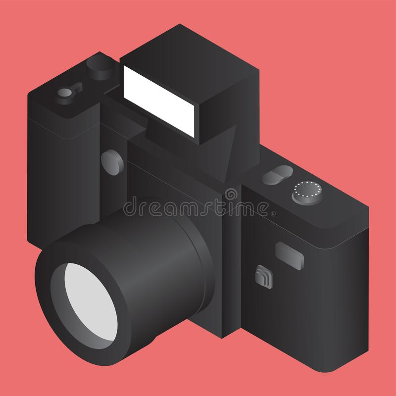 3D black camera on orange. vector illustration
