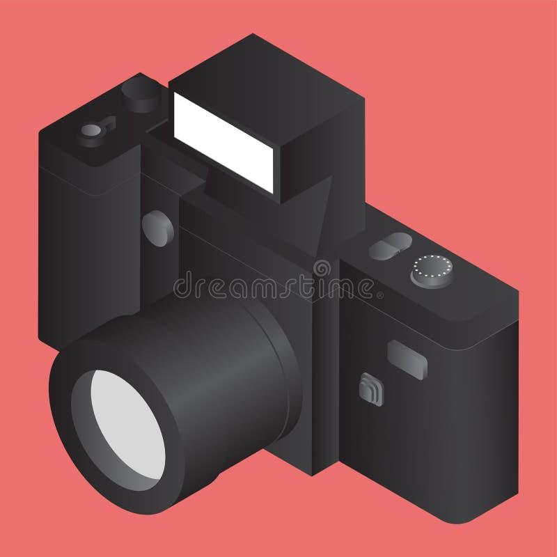 3D black camera on orange. vector illustration