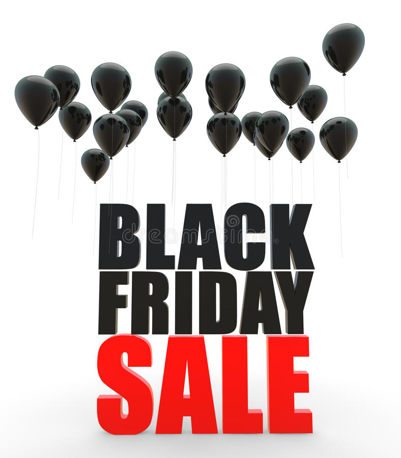 3d Black friday sale with black balloons royalty free illustration