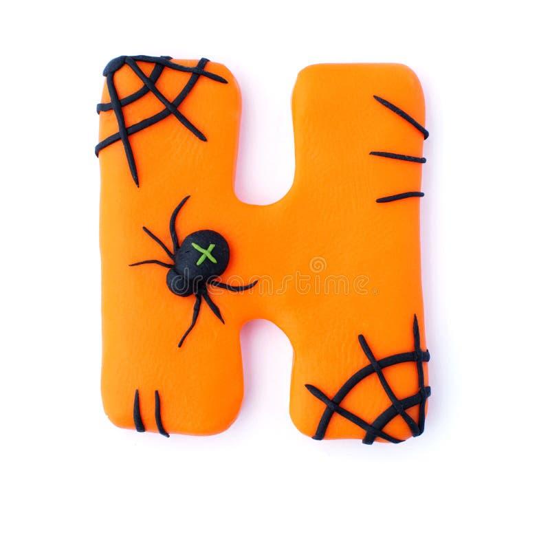 Halloween letter H spider stock image