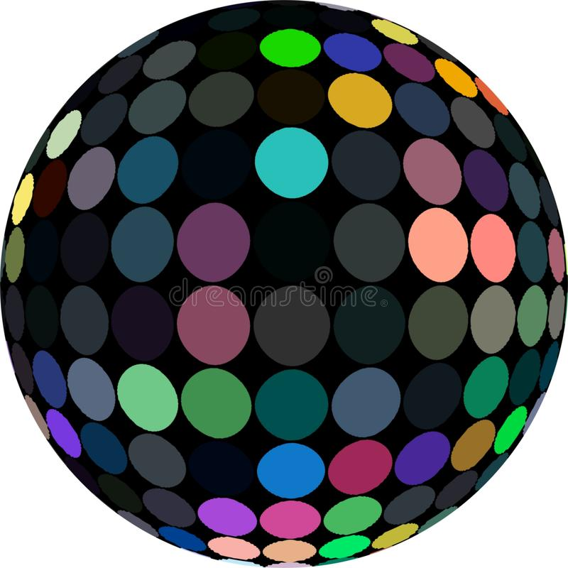 3d black sphere with multycolor mosaic macro isolated. Pink yellow blue green dots. stock illustration