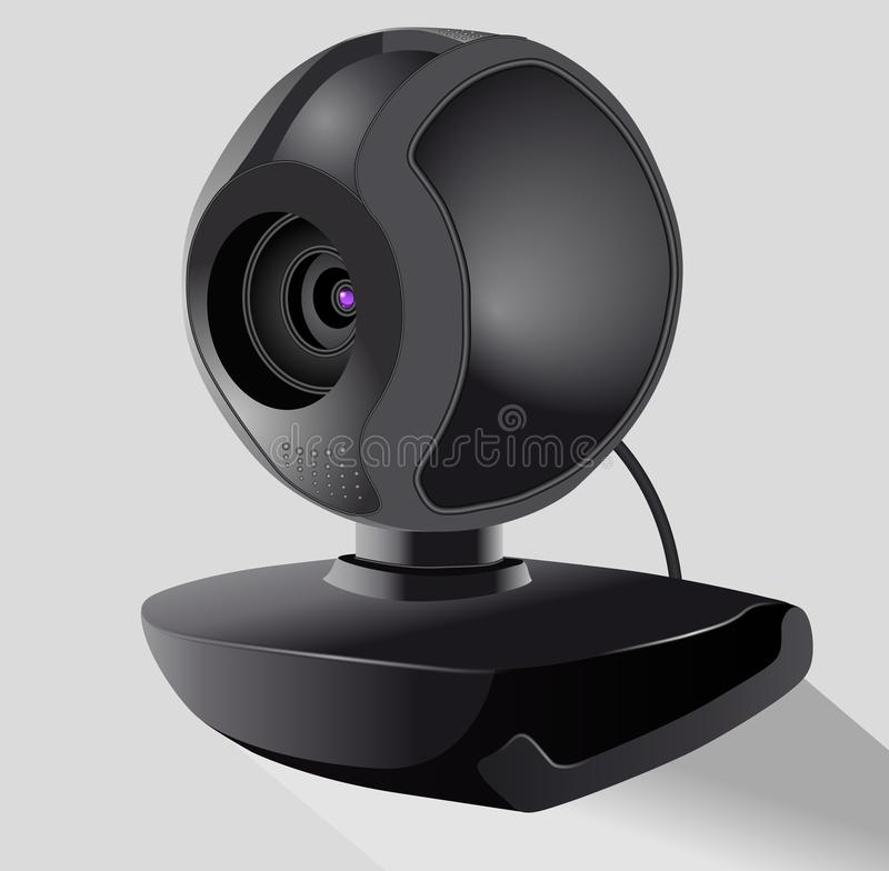 Realistic black webcam. Security and technology concept. Isolated Vector illustration. Isometric vector illustration