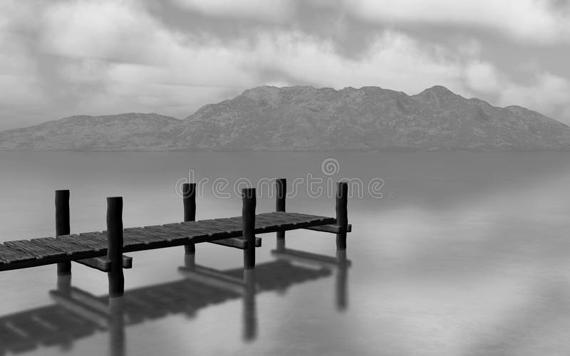 3D black and white landscape with jetty vector illustration