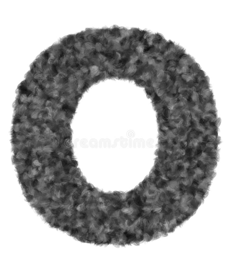 3D 'Black wool wolf fur letter O' creatief decoratief met haar van borsteldieren, karakter O geïsoleerd in witte achtergrond royalty-vrije illustratie