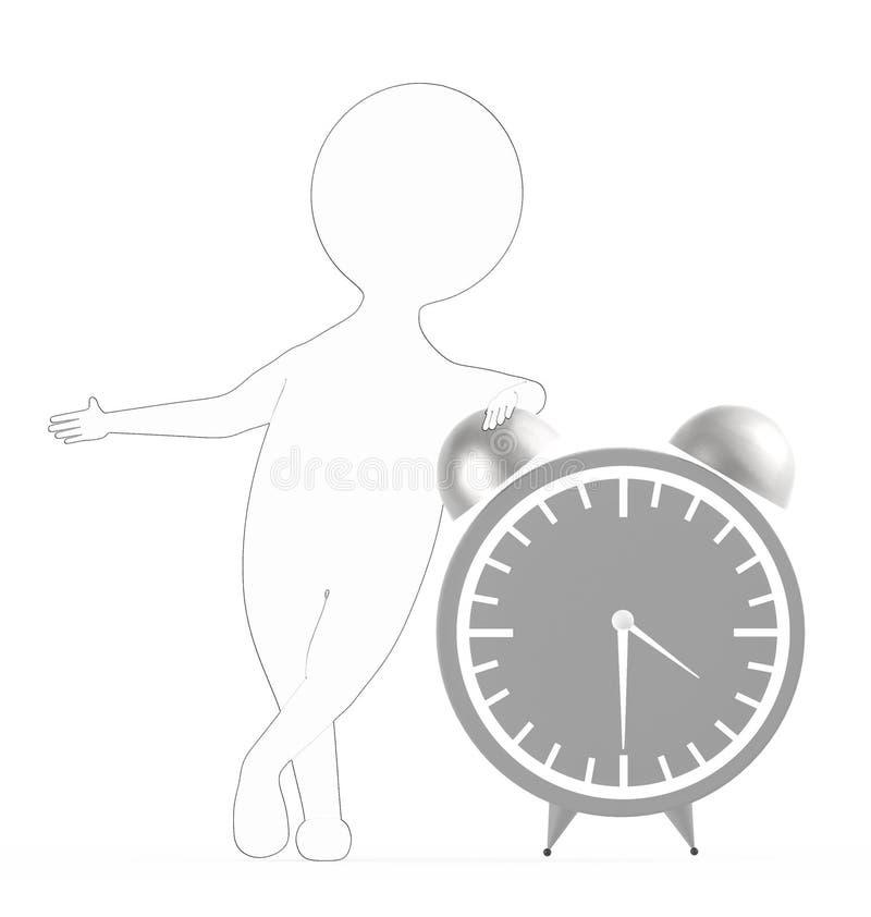 3d blanc - caractère rayé externe noir presque se tenant à une horloge de table de grande taille illustration de vecteur