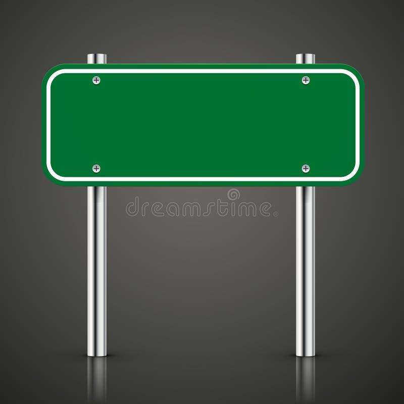 3d blank green traffic road sign stock illustration
