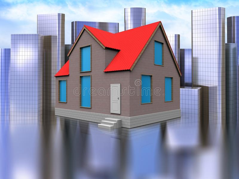 3d blank over city. 3d illustration of house over city background stock illustration