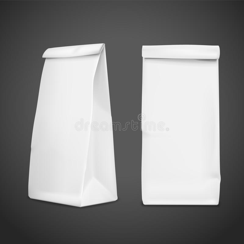 3d blank paper bag template. Isolated on black background stock illustration
