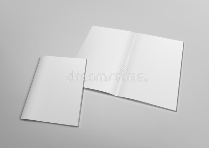 3D Blank Transparente Revista Abierta Mockup Con Tapa ilustración del vector
