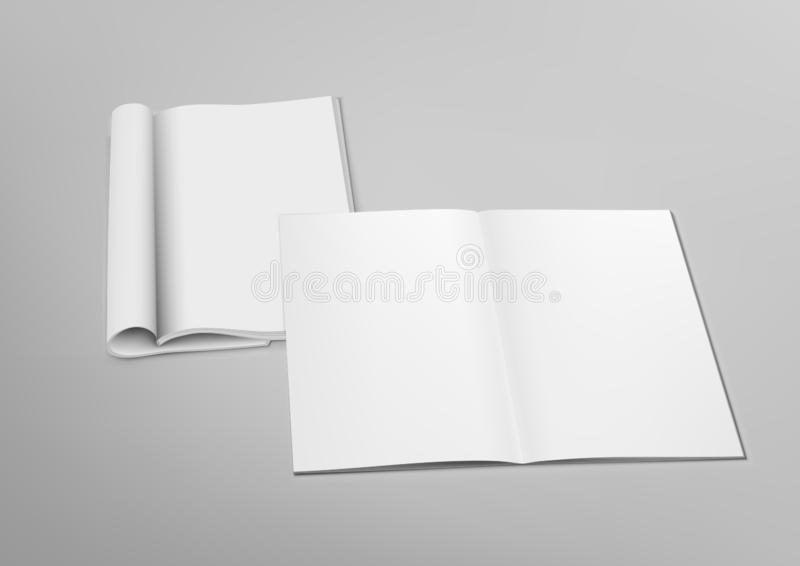 3D Blank Transparente Revista Abierta Mockup Con Tapa libre illustration