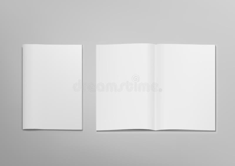 3D Blank Transparente Revista Abierta Mockup Con Tapa stock de ilustración