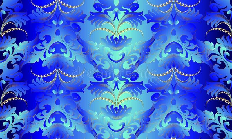 3d blauw Barok naadloos patroon Vector bloemenachtergrond wallp stock illustratie